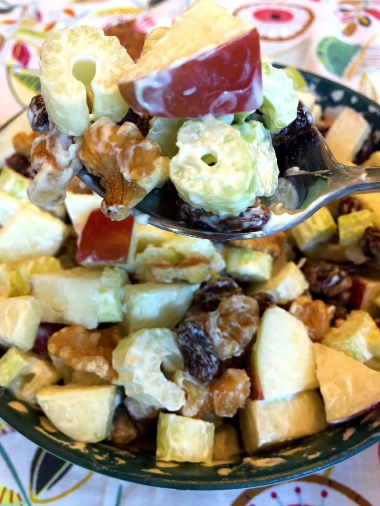 Waldorf Salad With Celery, Apple, Walnuts and Raisins