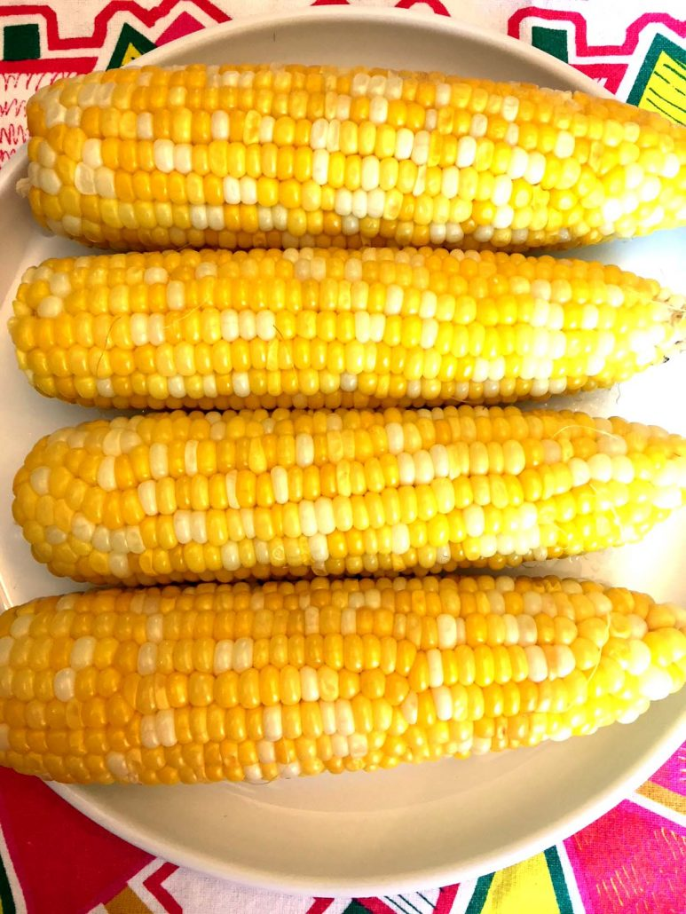Corn in the husks cooked in instant pot