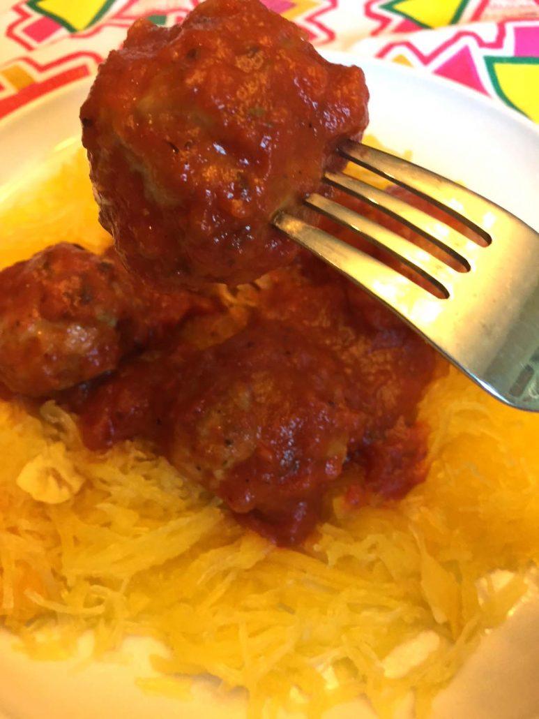 Pressure Cooker Meatballs Served Over Spaghetti Squash