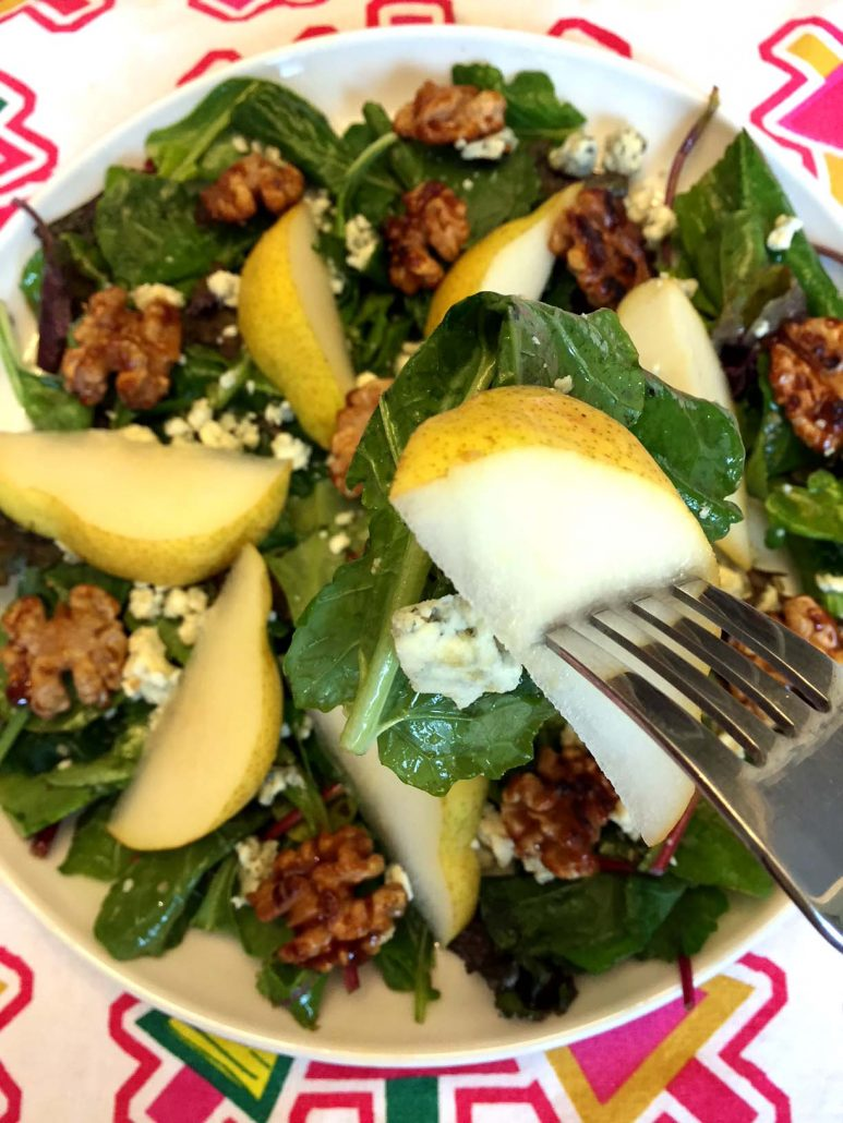 Pears Walnuts Blue Cheese Baby Greens Salad