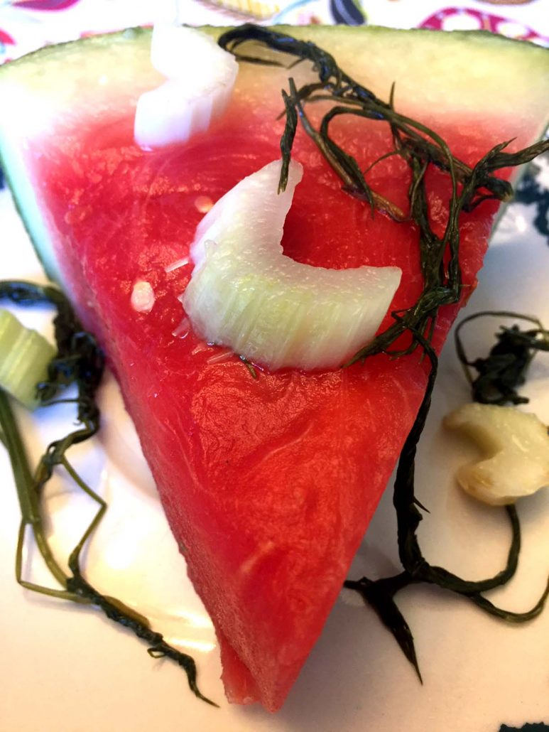 Whole pickled watermelon slices