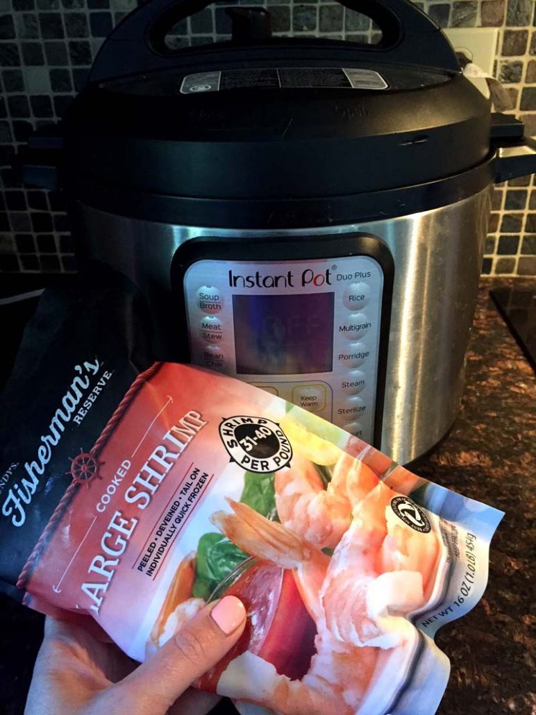 Instant Pot And Bag Of Frozen Shrimp