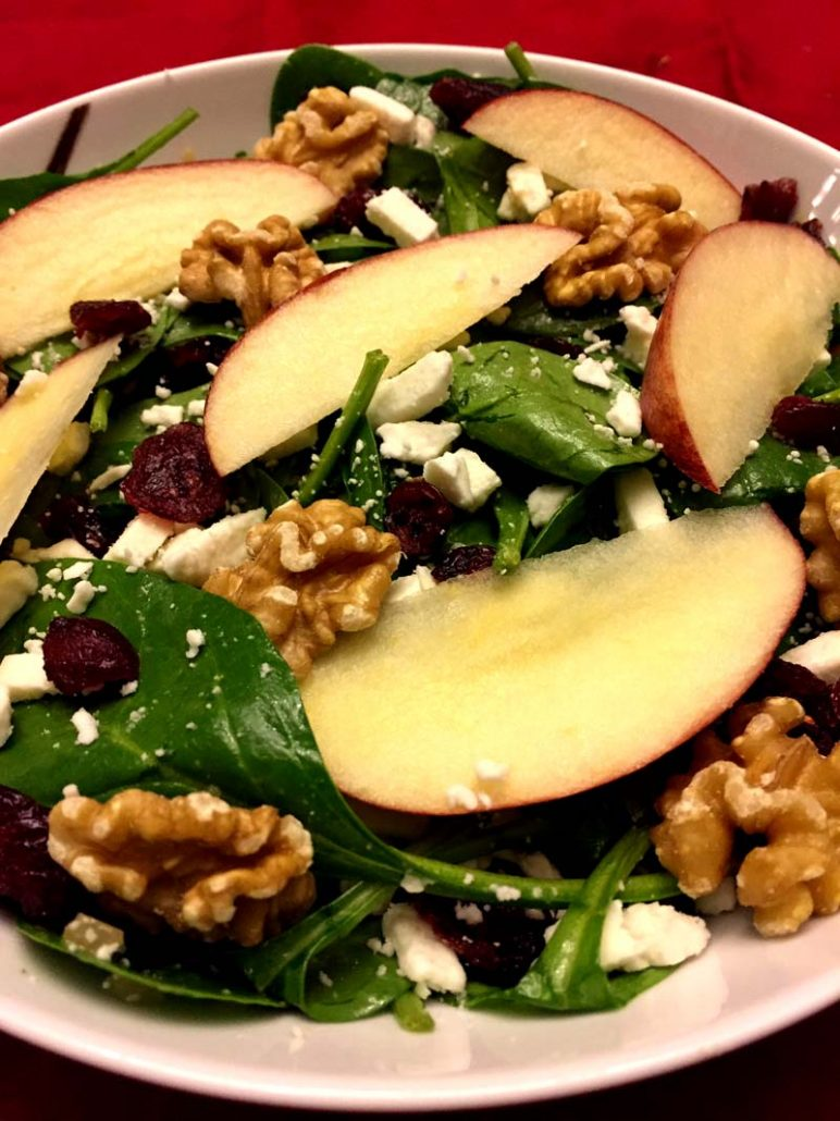 Spinach Apple Salad Recipe With Walnuts and Dried Cranberries
