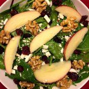 Spinach Apple Cranberry Walnut Salad