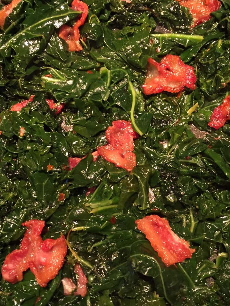Pan Fried Bacon and Kale