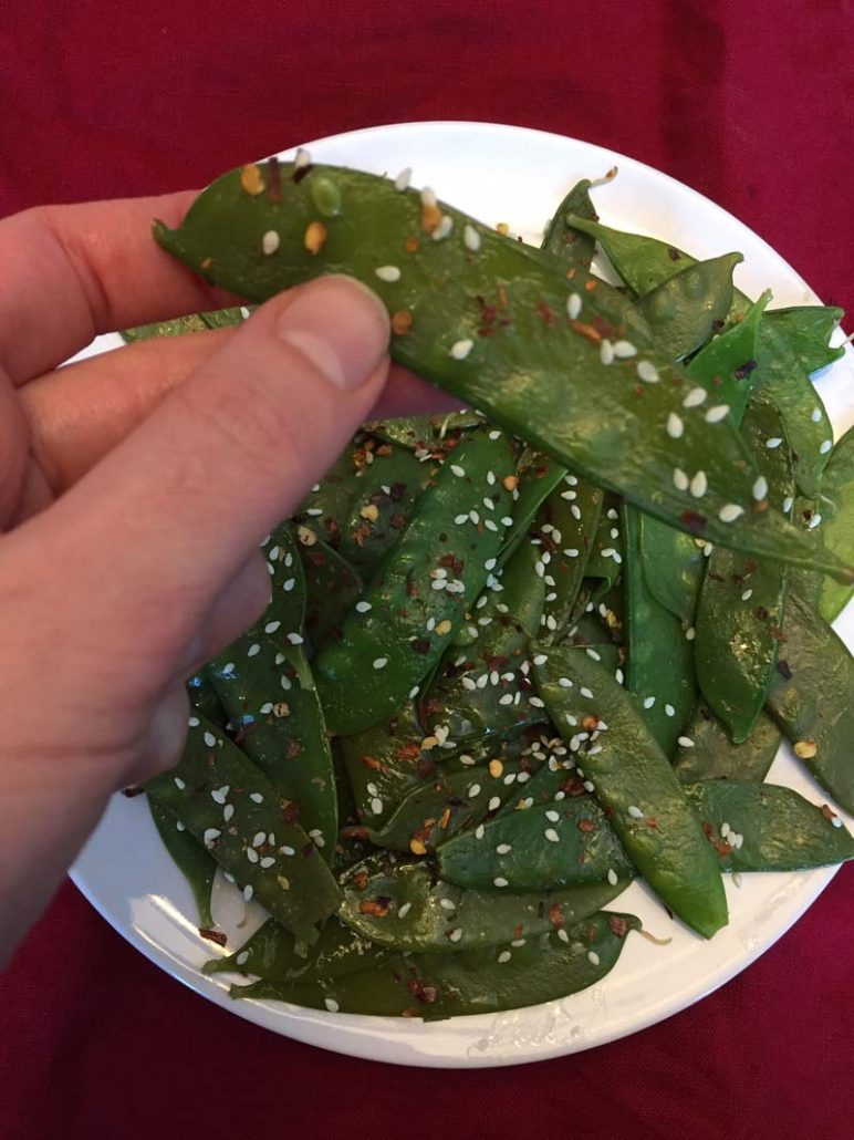 Spicy Sesame Garlic Instant Pot Snow Peas