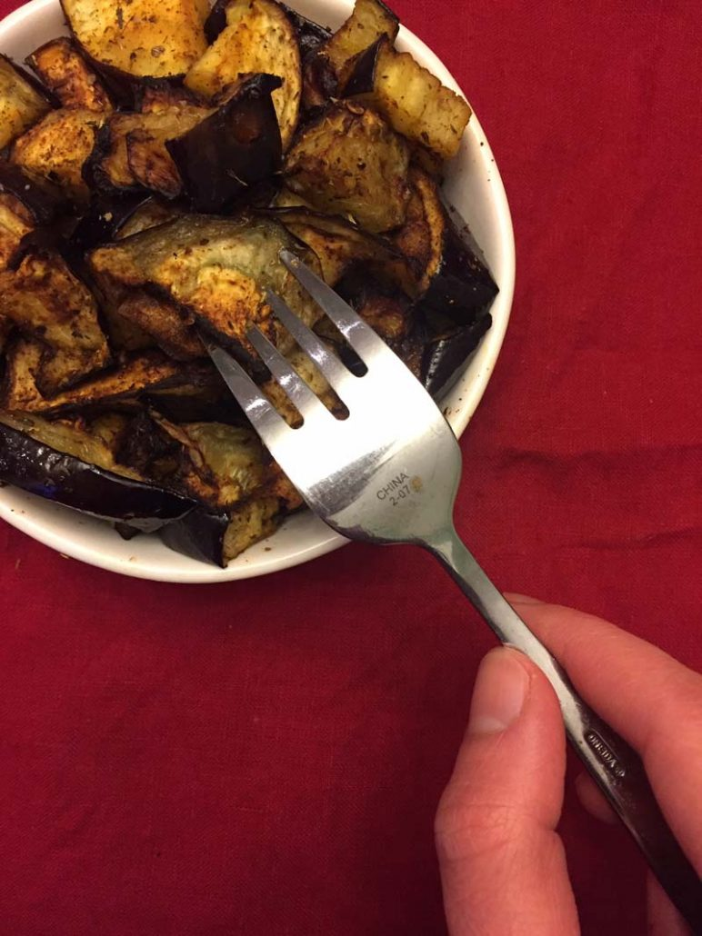 spicy garlic eggplant in the air fryer