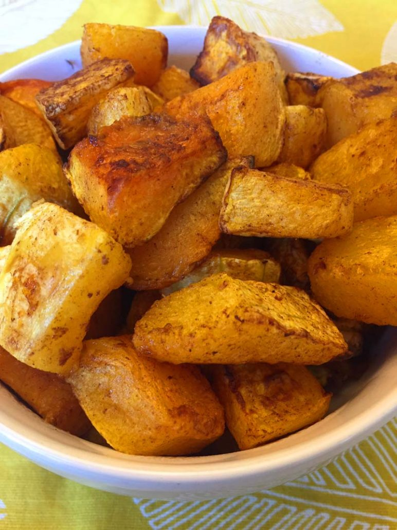 butternut squash cubes cooked in an air fryer