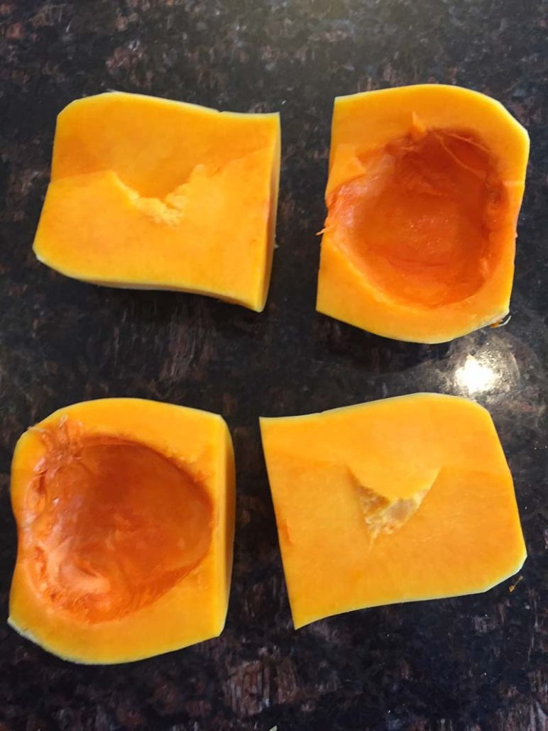 butternut squash cut into quarters