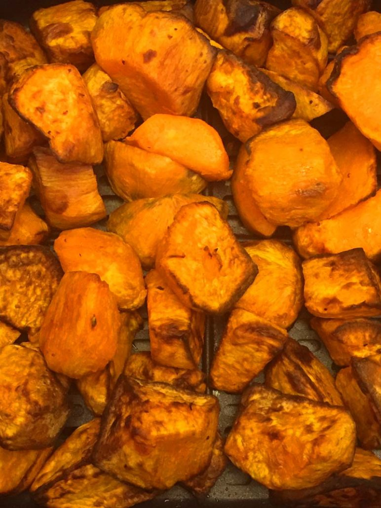 air fryer roasted sweet potato pieces