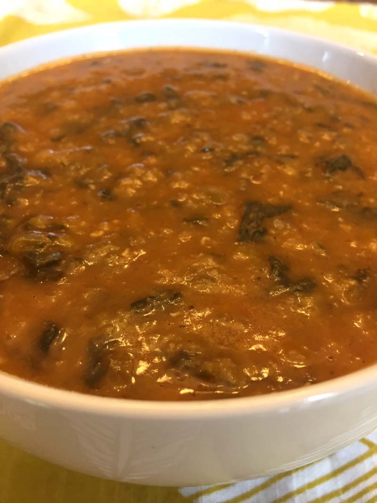 a bowl of instant pot lentil soup