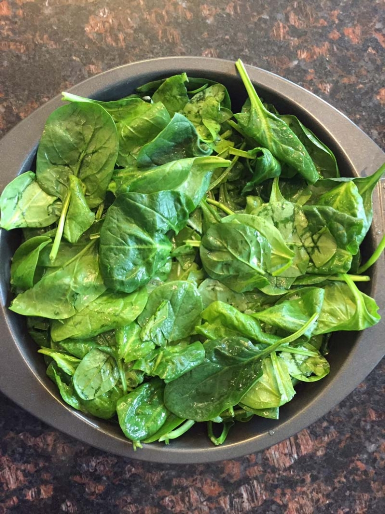 spinach in a baking dish
