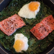 Keto Salmon Spinach Egg Bake