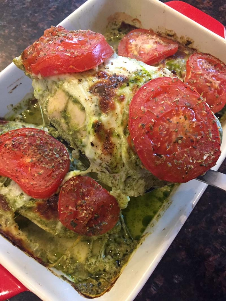 Chicken Pesto Mozzarella Keto Casserole