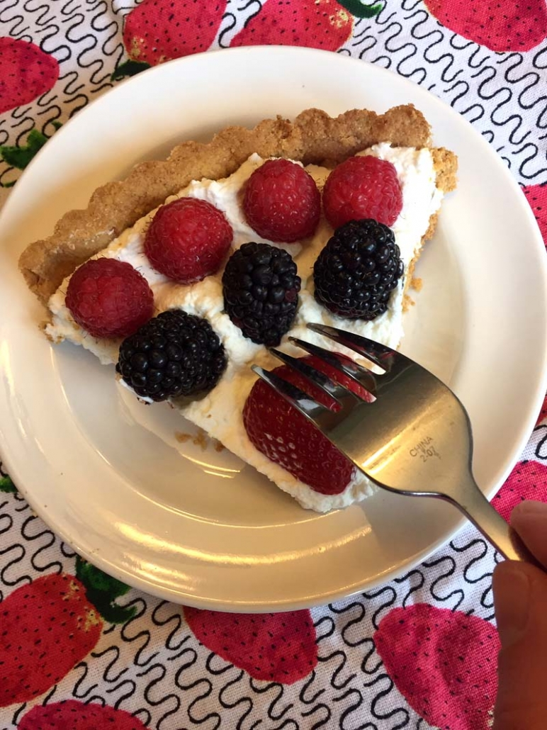 slice of keto fruit tart