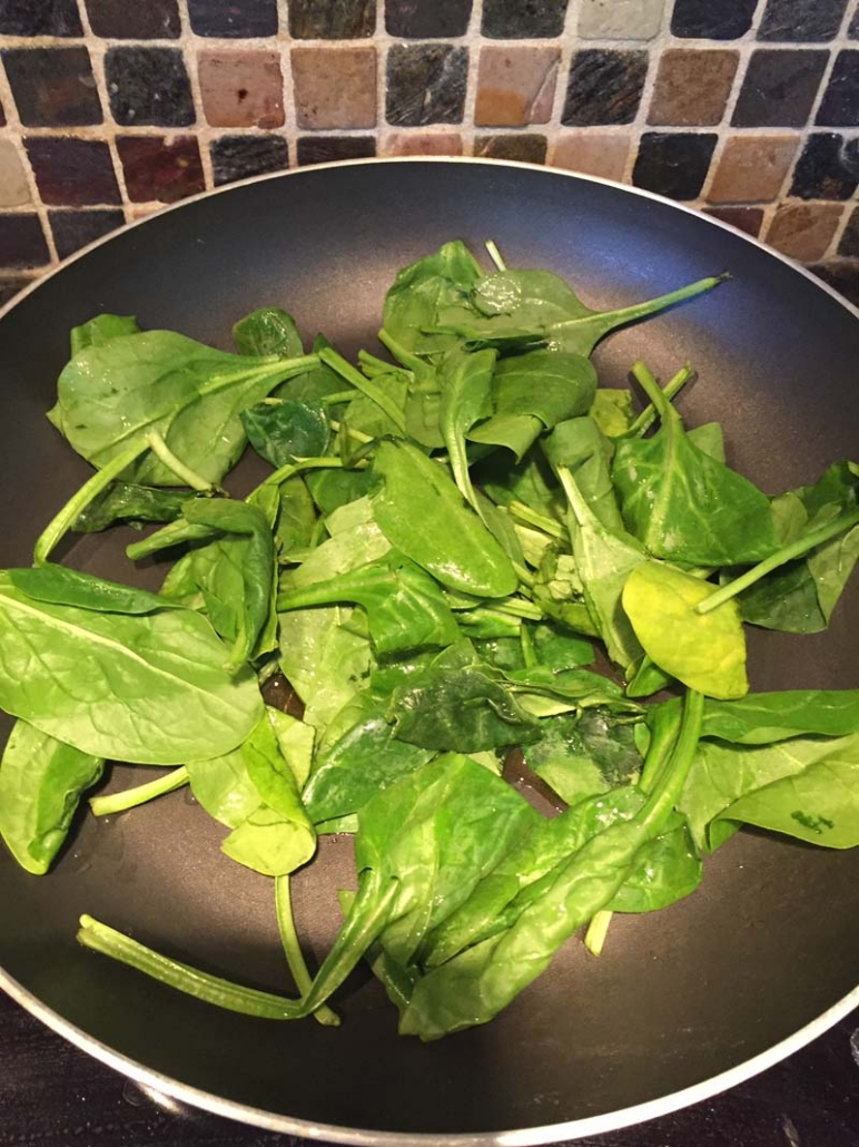 spinach in the frying pan