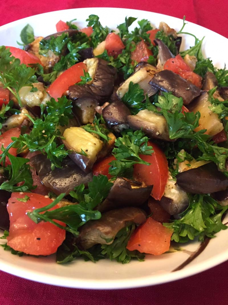 roasted eggplant salad with tomatoes