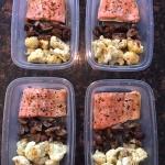 Keto Salmon Sheet Pan Meal Prep With Cauliflower And Mushrooms