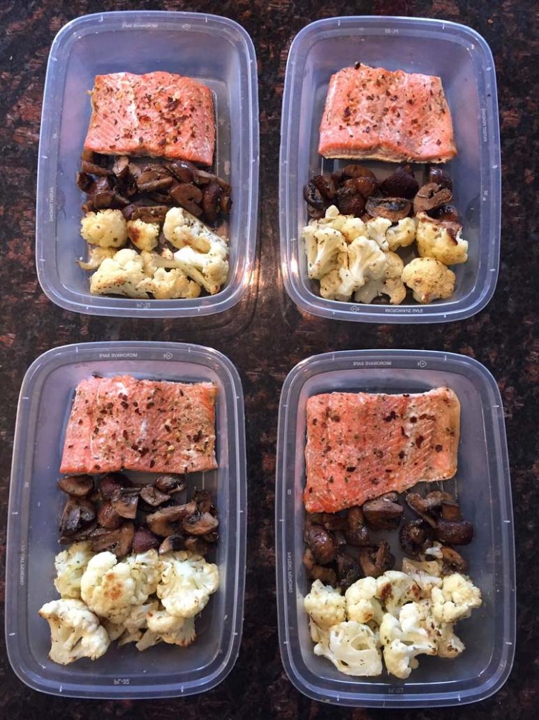 Keto Salmon Meal Prep With Cauliflower And Mushrooms