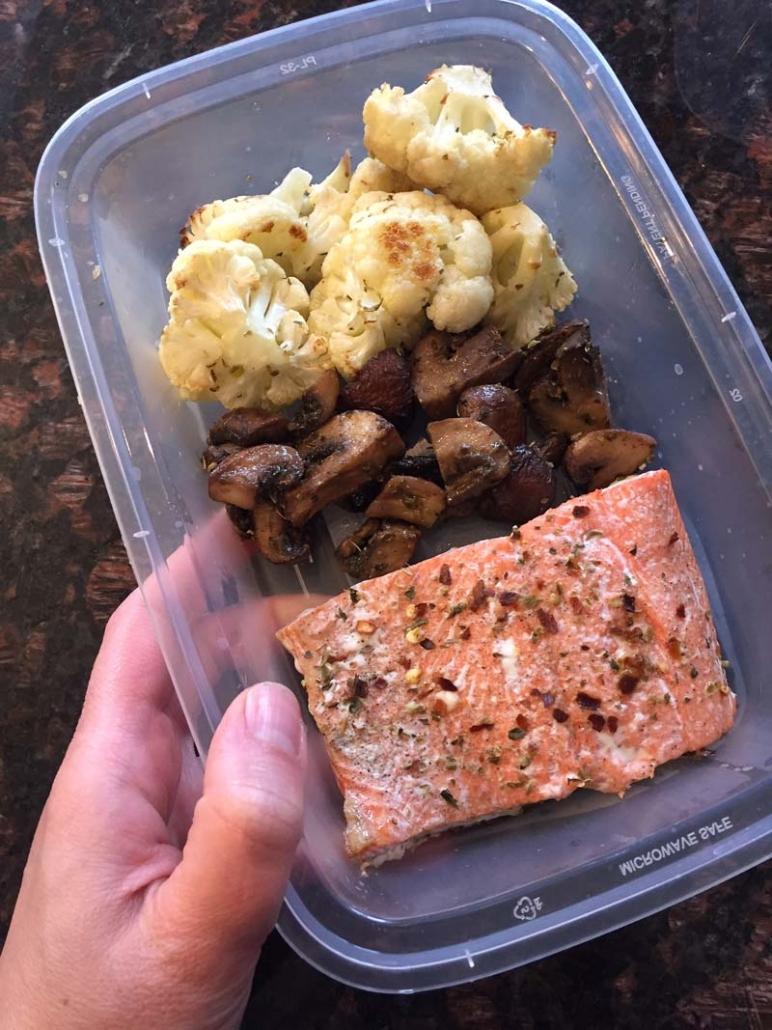 keto salmon cauliflower mushroom meal prep