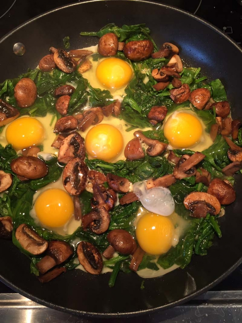 skillet eggs in a nest