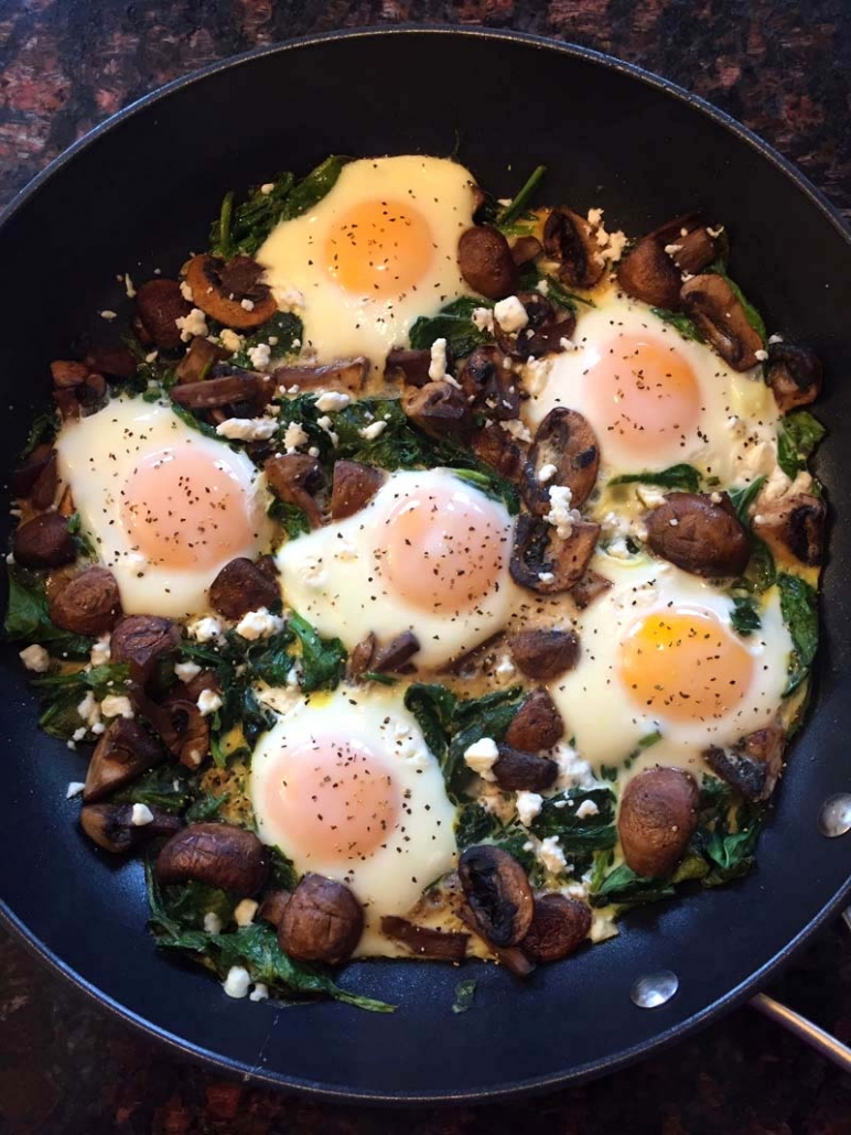 Keto Eggs In Nests With Mushrooms And Spinach