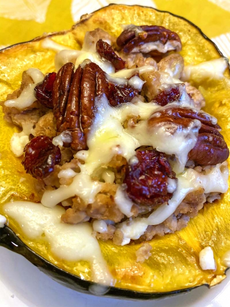easy stuffed acorn squash with turkey cranberries pecans