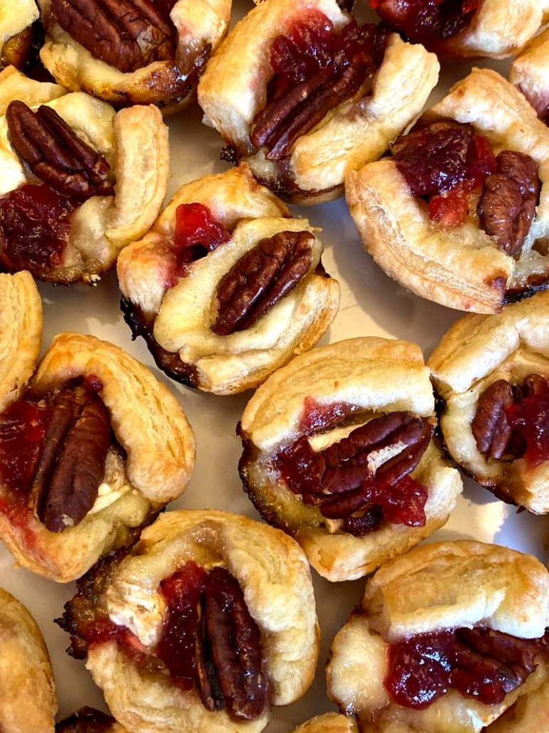 puff pastry cups with brie cranberry pecans