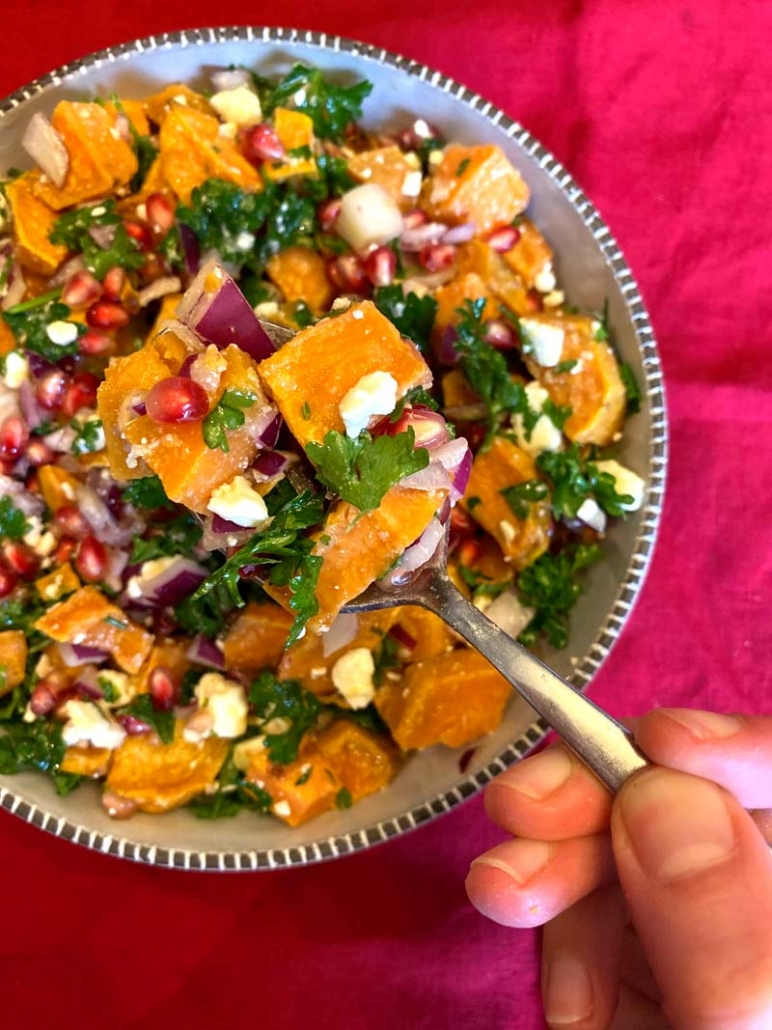 holiday salad with sweet potatoes and pomegranate