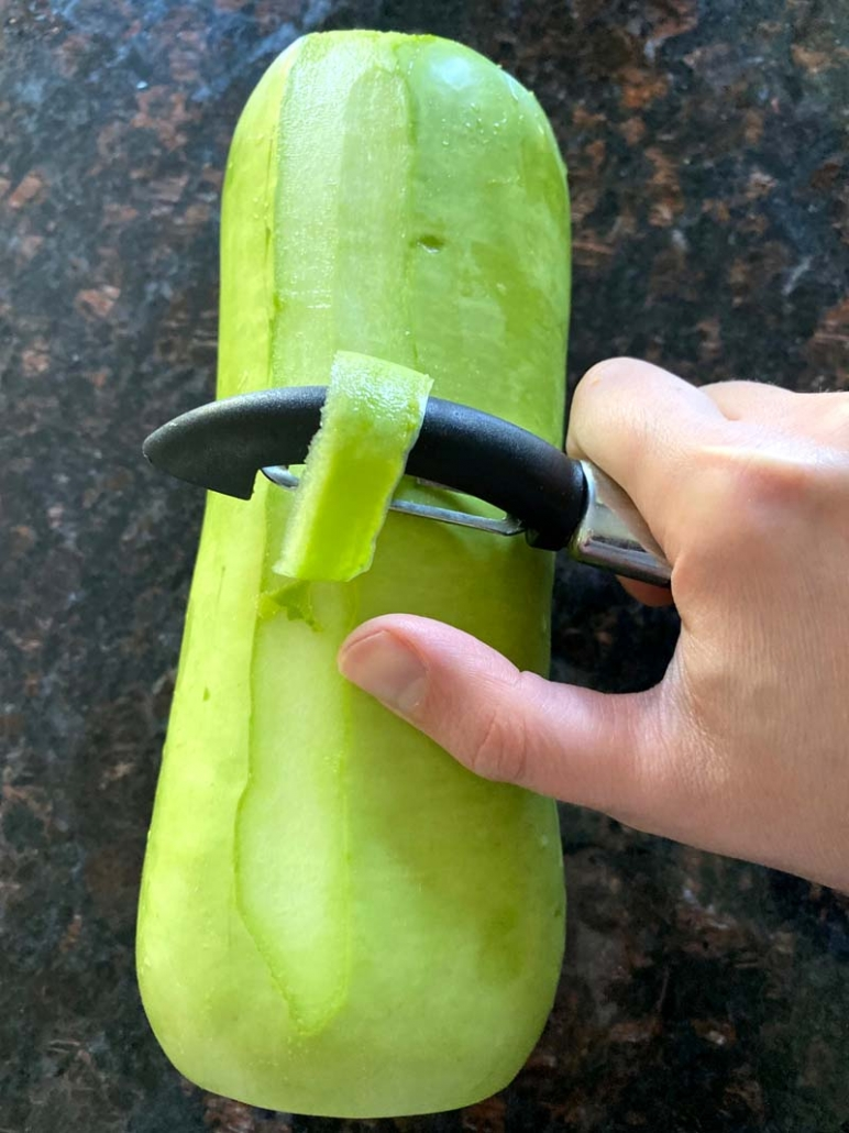 how to peel opo squash