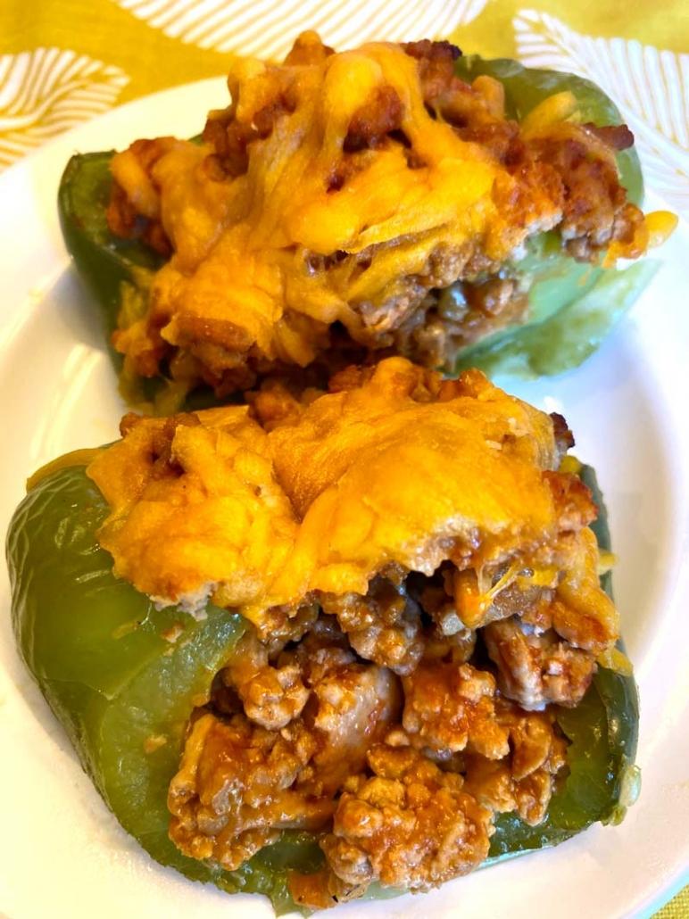 keto stuffed pepper halves baked in oven