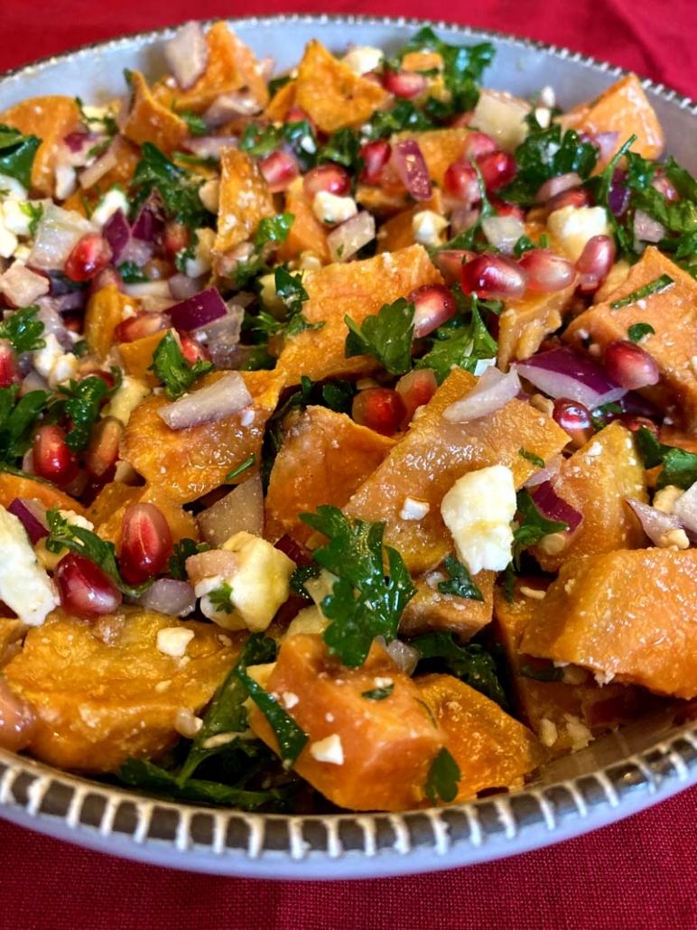 thanksgiving sweet potato pomegranate salad
