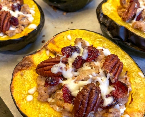 Stuffed Acorn Squash With Turkey Cranberries Pecans