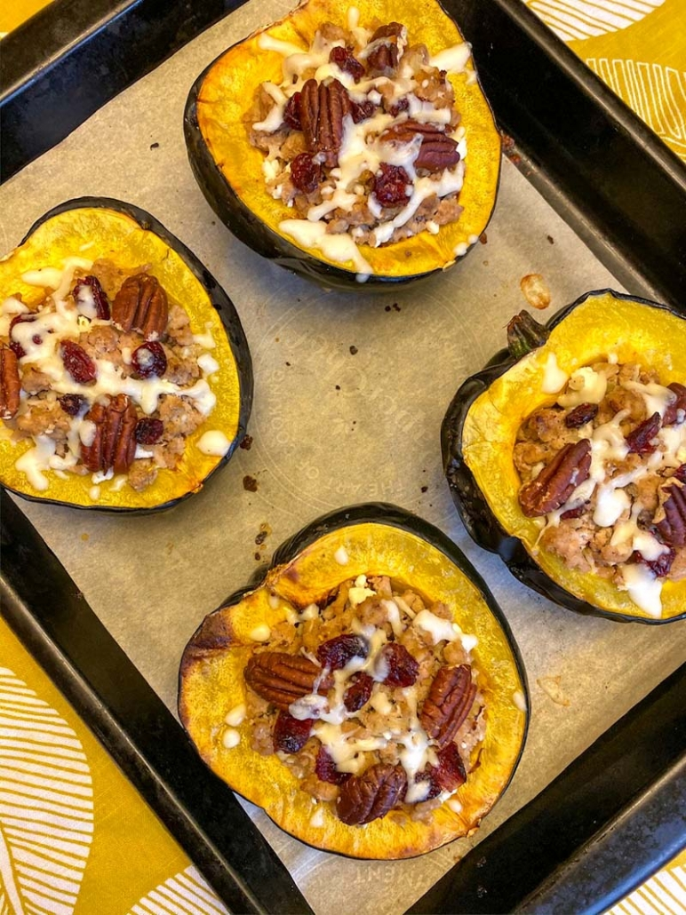 turkey cranberry pecan stuffed acorn squash