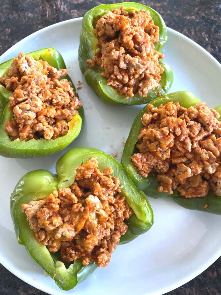 pepper halves stuffed with turkey filling