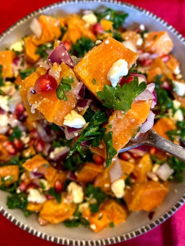 pomegranate sweet potato feta salad recipe