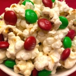 Christmas Popcorn With M&Ms And Marshmallows