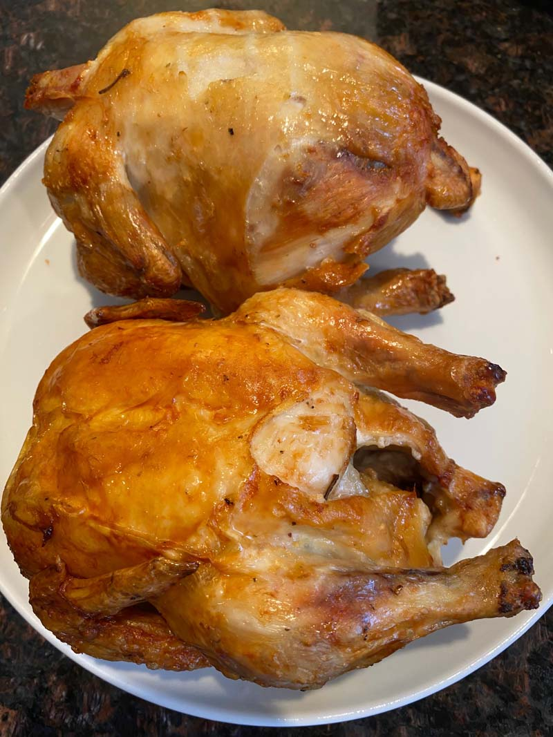 two cornish hens on a white plate