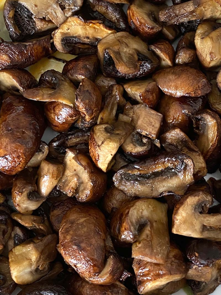 closeup of mushrooms cooked in the air fryer