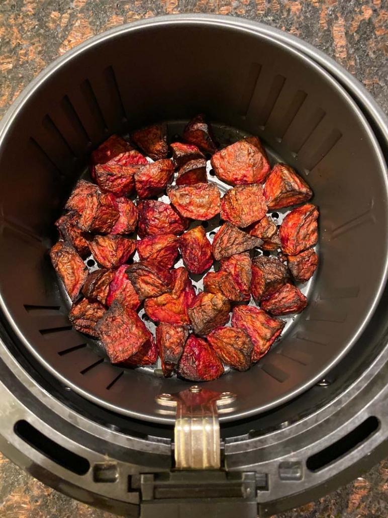 Air Fryer Roasted Beets in the air fryer basket