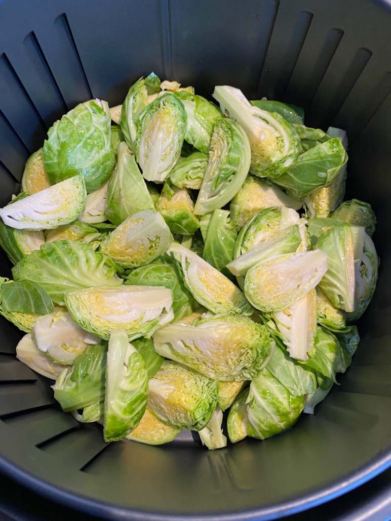 prepping brussel sprouts