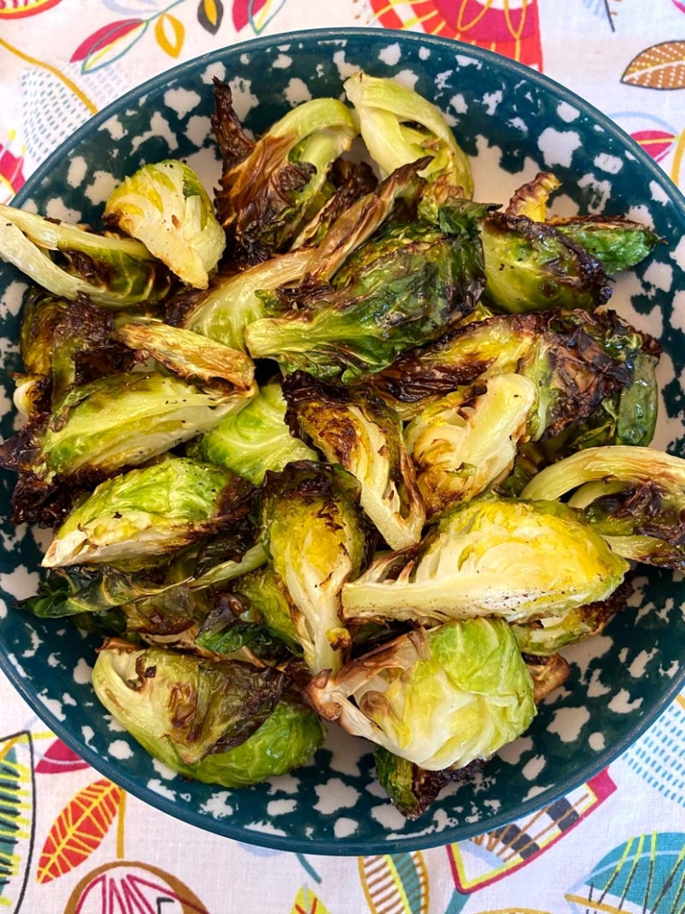 Air Fryer Brussels Sprouts in a blue and white bowl