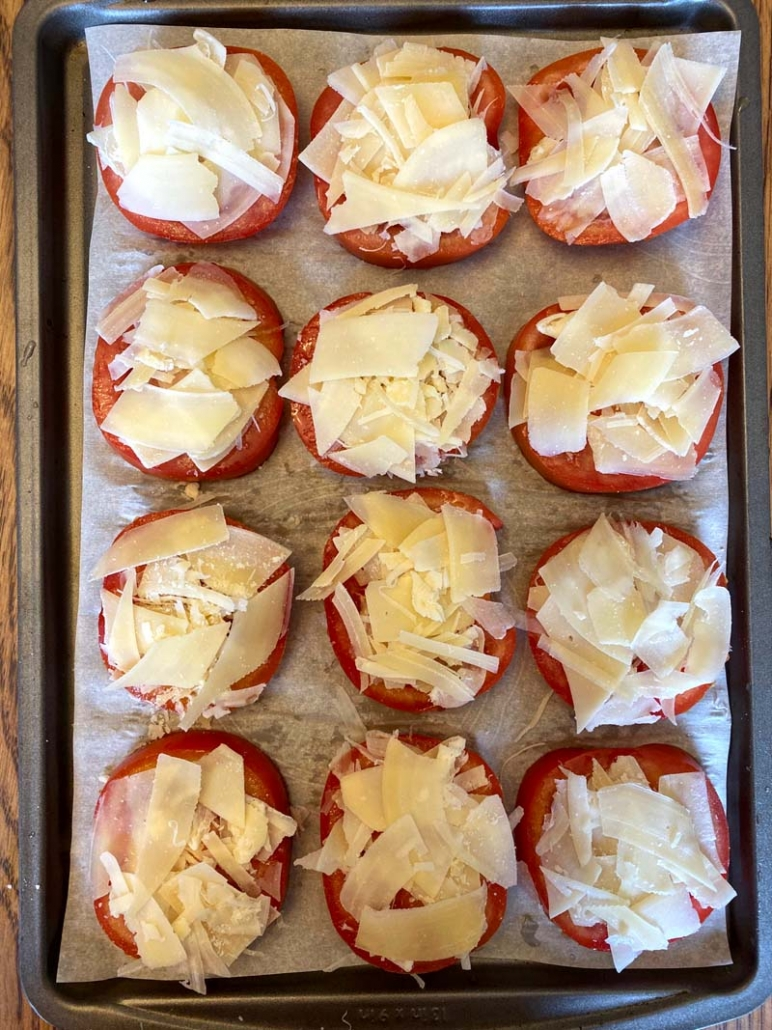tomato slices with parmesan cheese