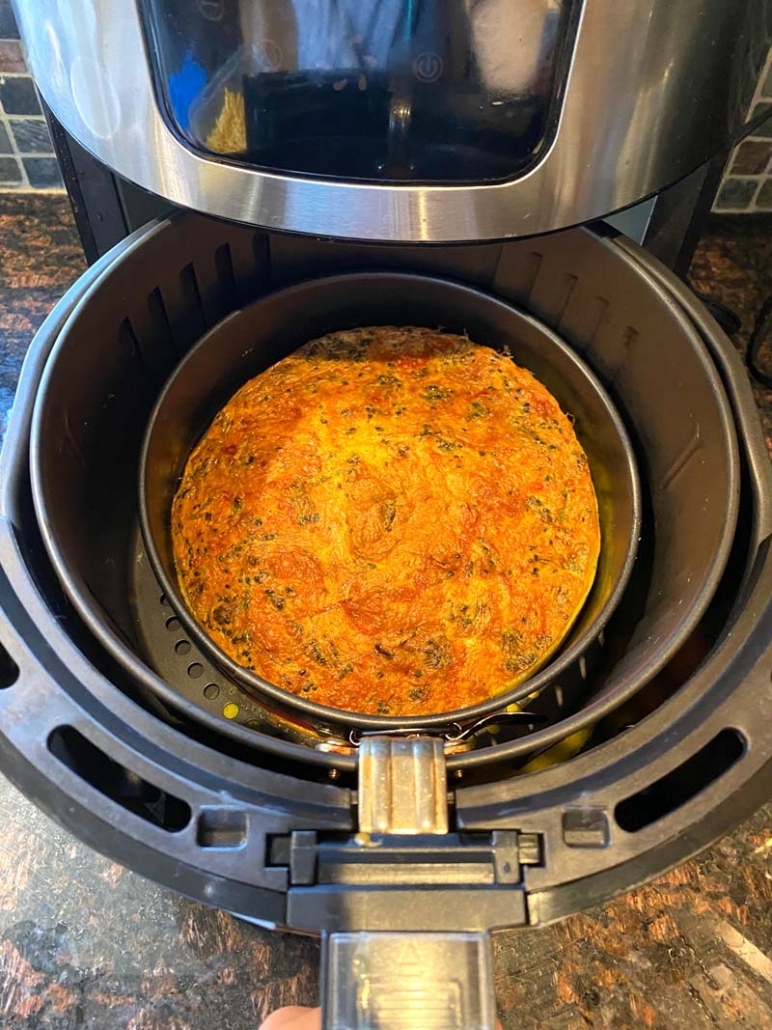 Air Fryer Frittata with shredded cheese