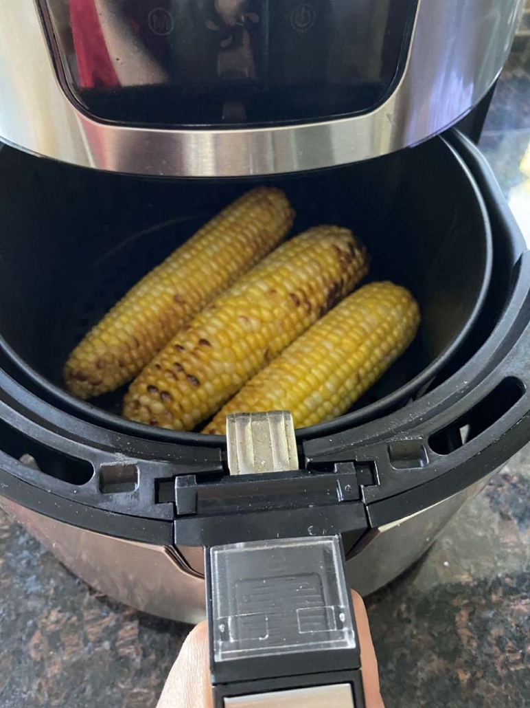 cooking an ear of corn in the air fryer