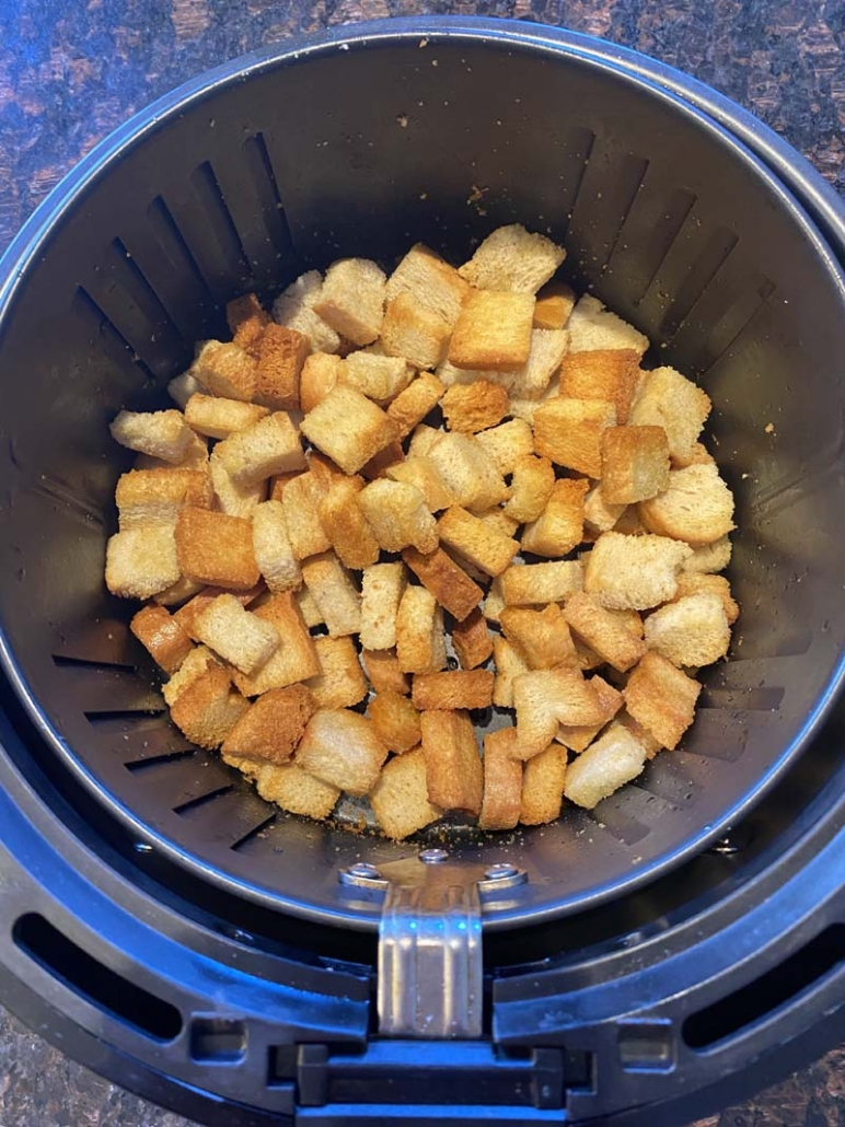 crunchy air fried croutons