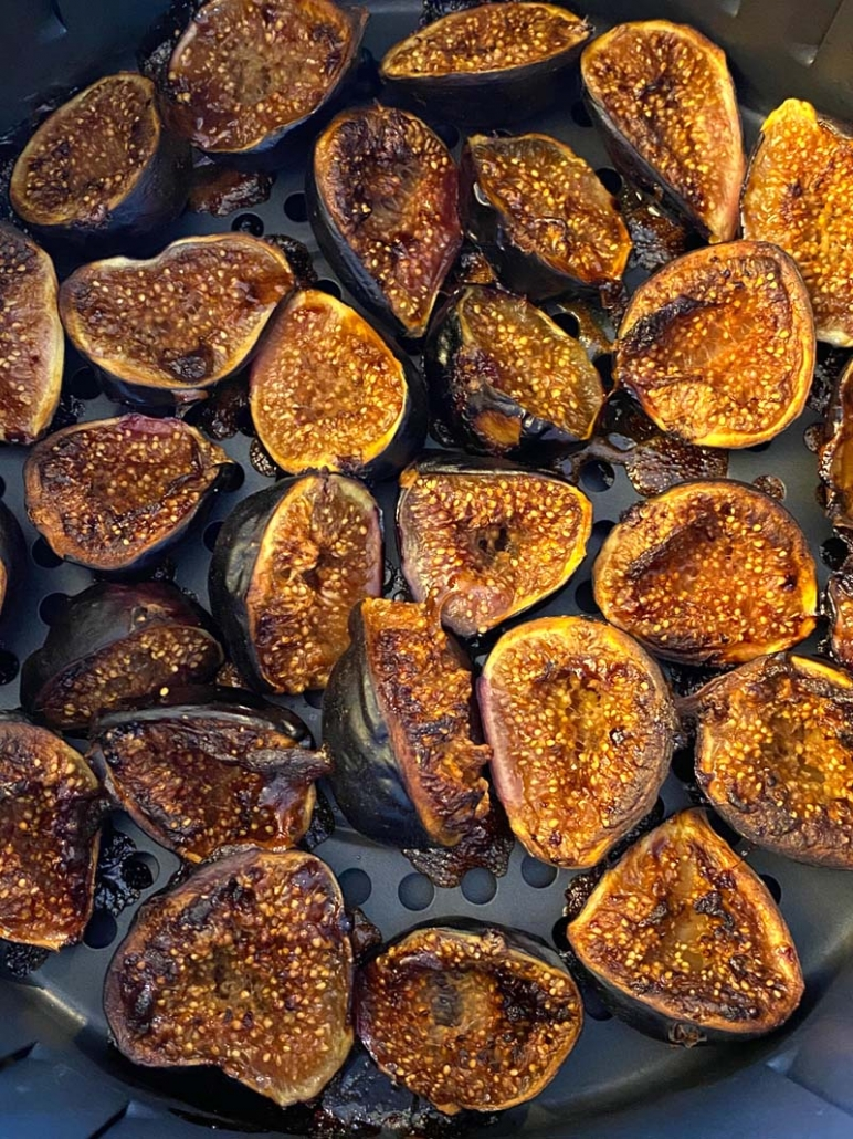 air fried figs with cinnamon and sugar