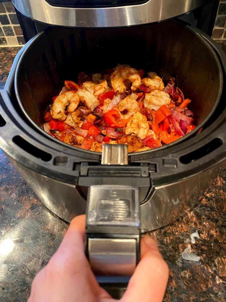 cooking shrimp fajitas in the air fryer
