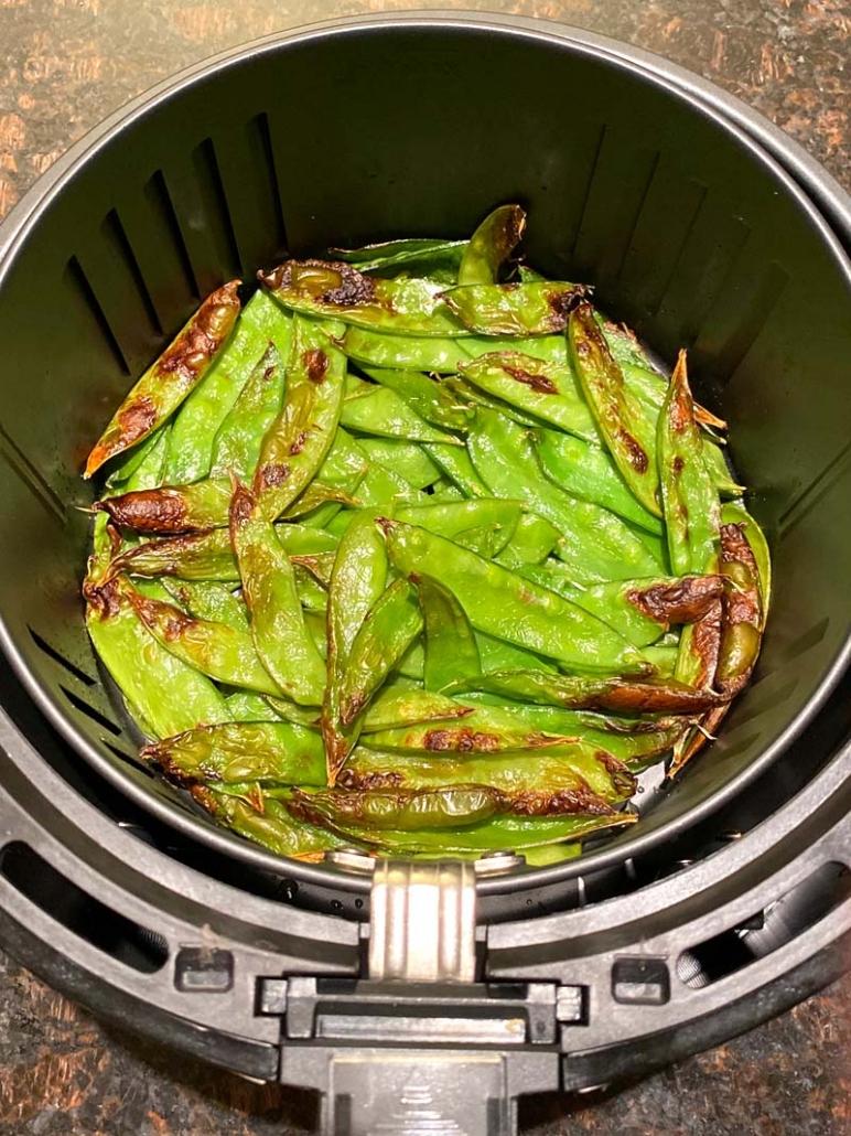roasted snow peas in an air fryer