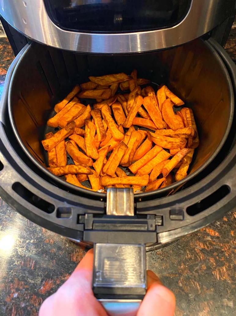 cooking sweet potato fries in the air fryer